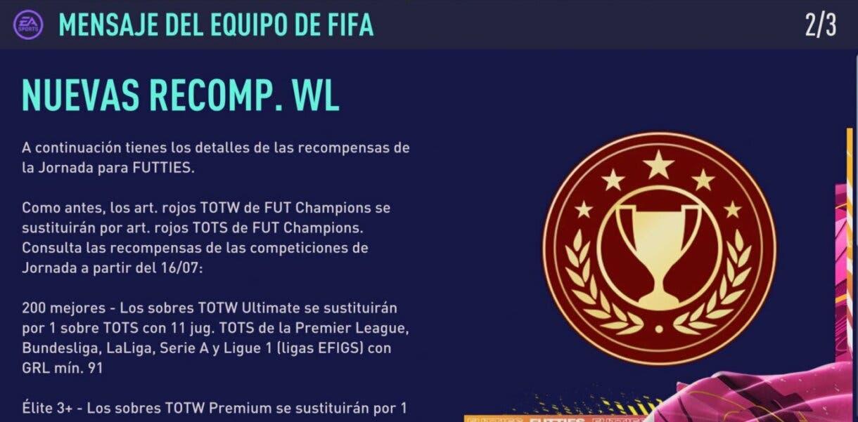 FIFA 21: así son las recompensas de FUT Champions durante FUTTIES Ultimate Team