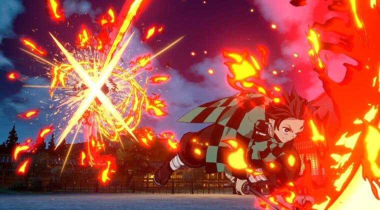 Imagen de Aquí tienes un Tanjiro Vs Rengoku en la versión de PS5 de Kimetsu no Yaiba - The Hinokami Chronicles