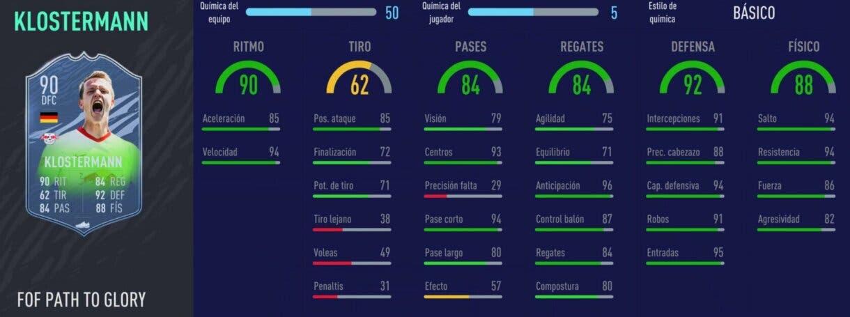 FIFA 21 Ultimate Team los mejores centrales de bajo precio para cada liga stats in game Klostermann Festival of FUTball