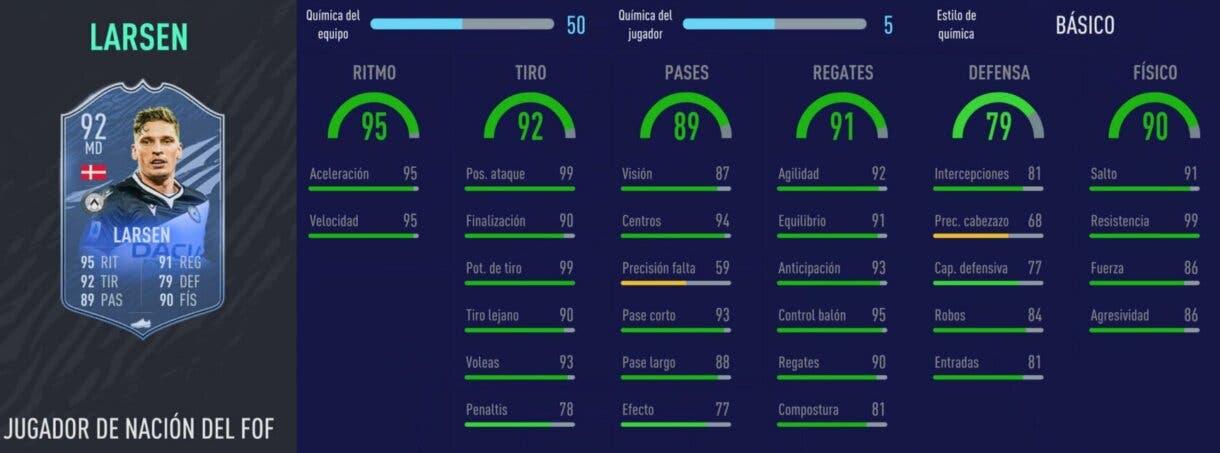 Stats in game de Larsen Jugador de Nación. FIFA 21 Ultimate Team