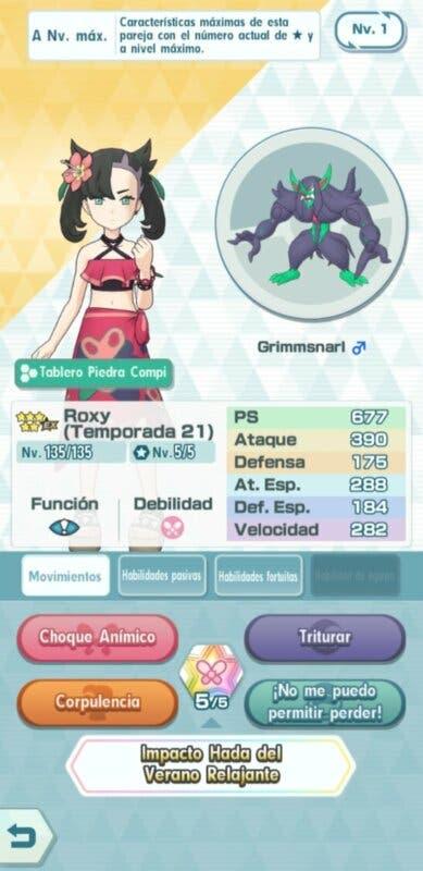 Pokemon Masters EX Roxy y Grimmsnarl
