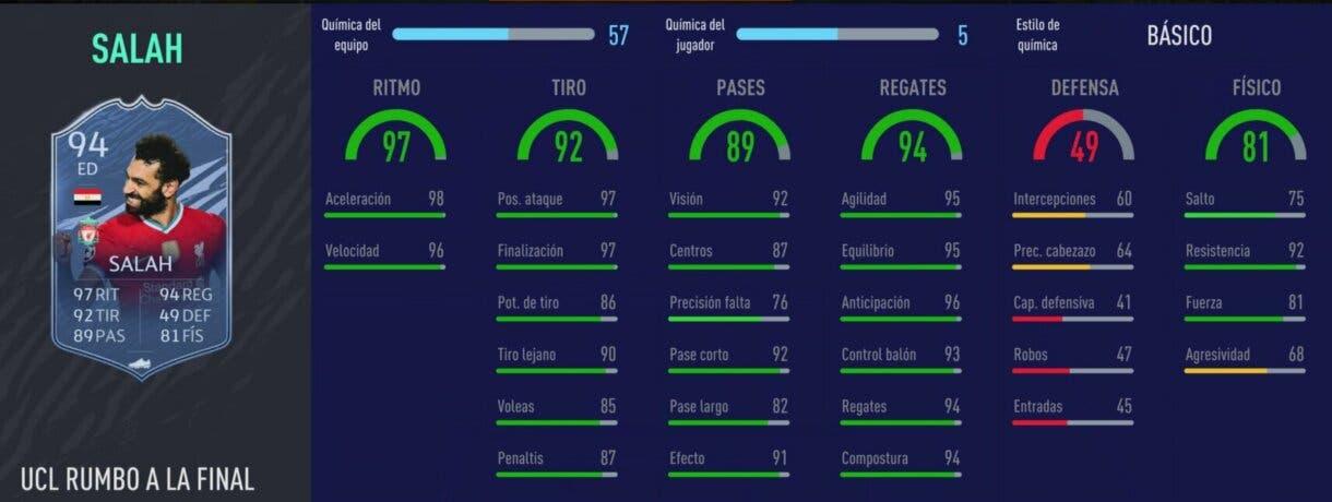 FIFA 21: los mejores extremos derechos de cada liga relación calidad/precio stats in game de Salah RTTF