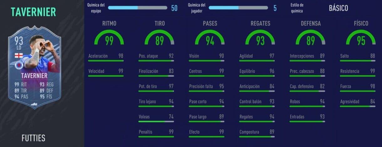 FIFA 21 Ultimate Team Tavernier FUTTIES gratuito stats in game