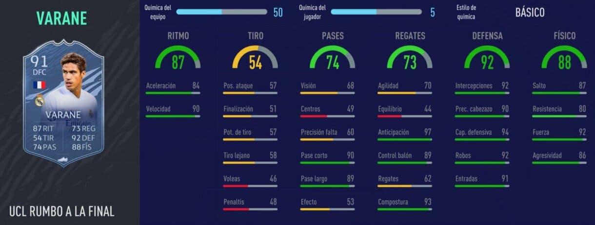 FIFA 21 Ultimate Team los mejores centrales de bajo precio para cada liga stats in game Varane RTTF