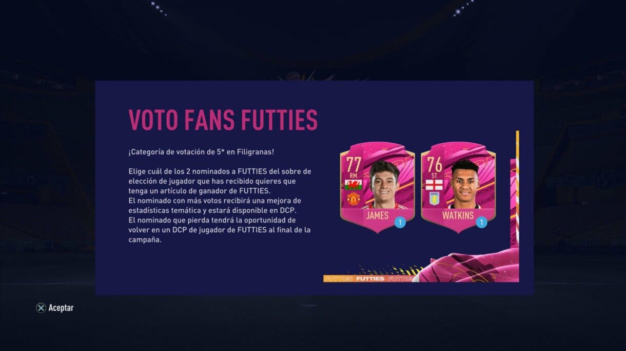 FIFA 21 Ultimate Team FUTTIES nueva votación cinco estrellas de filigranas
