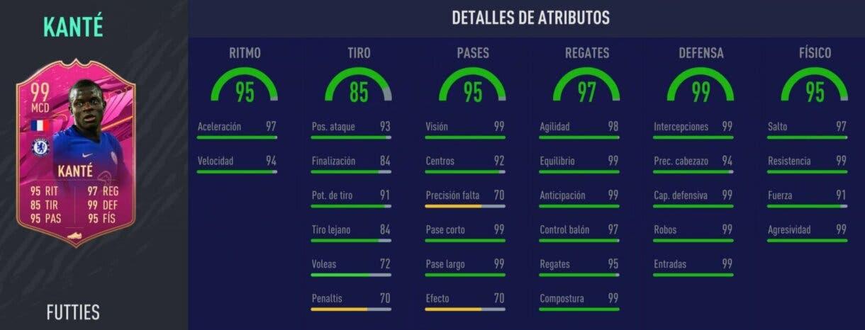 Stats in game de Kanté FUTTIES. FIFA 21 Ultimate Team