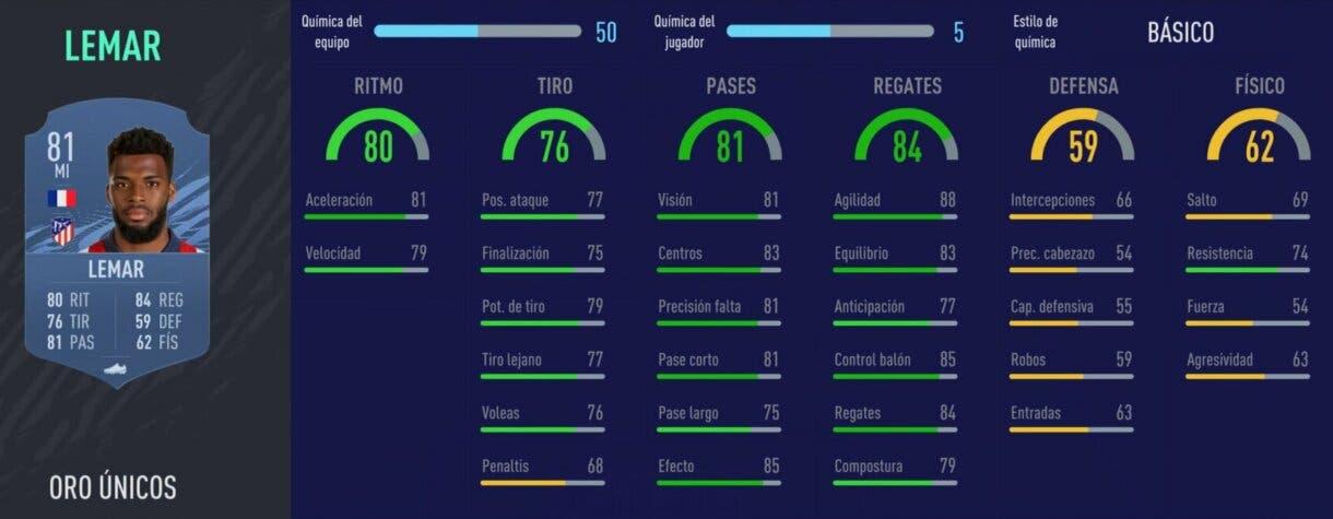 FIFA 22 medias: jugadores útiles de la Liga Santander con probabilidades de ser aún mejores (segunda parte) Ultimate Team Thomas Lemar