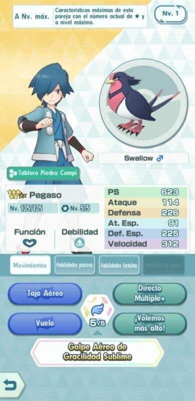Pegaso y Swellow Pokemon Masters EX