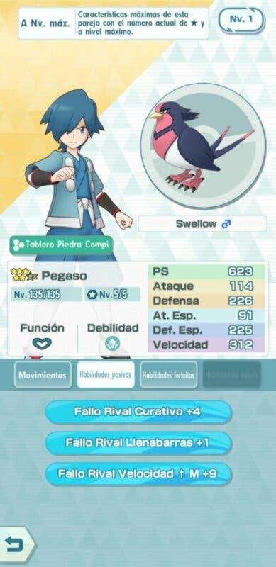 Pegaso y Swellow Pokemon Masters EX habilidades