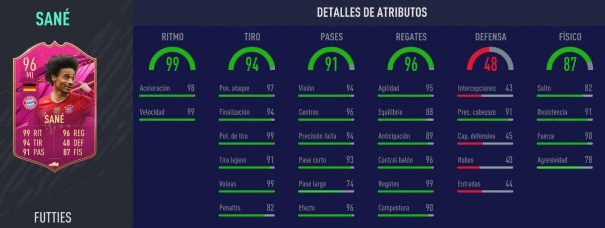 Stats in game de Sané FUTTIES. FIFA 21 Ultimate Team