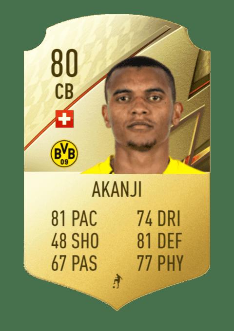 FIFA 22 medias: estas son las cartas del Borussia Dortmund Akanji