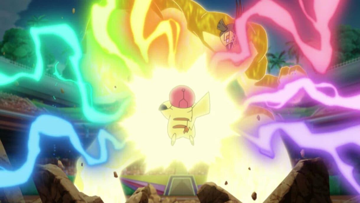 anime de Pokemon duelo Movimientos Z Pikachu Tapu Koko