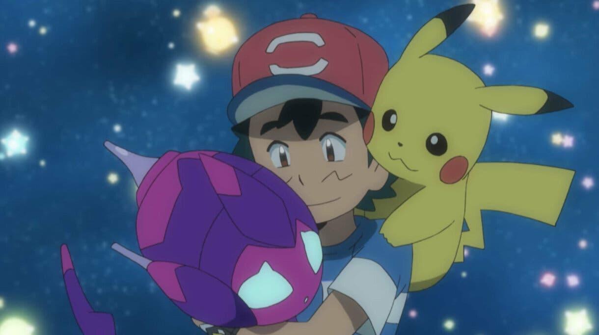 anime de Pokemon Sol y Luna Poipole y Ash triste Minior