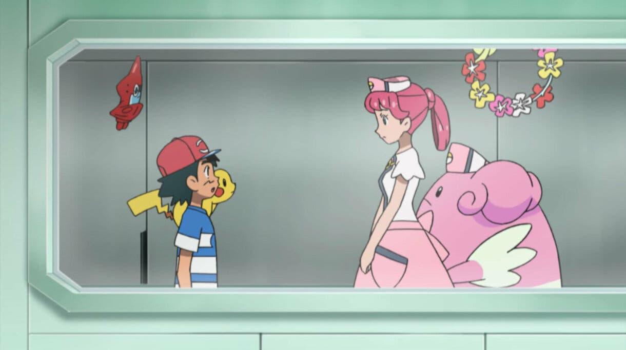 Ash enfermera Joy anime de Pokemon Sol y Luna
