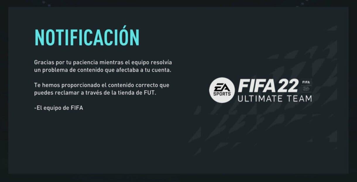 FIFA 22: puede que hayas recibido sobres extra por un error previo de EA Sports Ultimate Team notificación