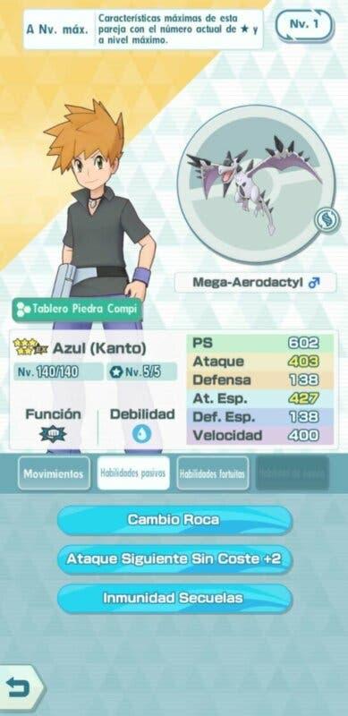 Azul y Aerodactyl Pokemon Masters EX habilidades