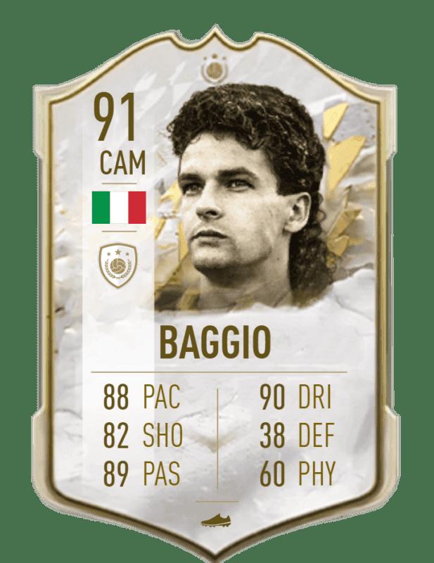 FIFA 22 medias: reveladas más cartas oficiales de Ultimate Team Baggio Icono