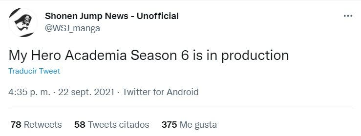 boku no hero academia tuit temporada 6
