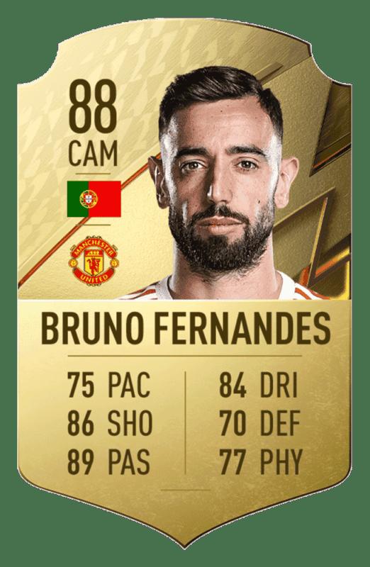 FIFA 22: revelado el top 20 de jugadores de la Premier League con mayor media Bruno Fernandes