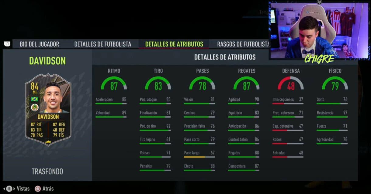 FIFA 22: estos son los jugadores gratuitos Trasfondo de la primera temporada de Ultimate Team stats in game Davidson