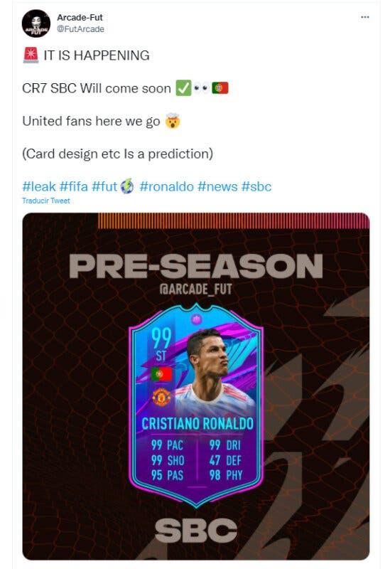 FIFA 21: filtrada una nueva carta SBC de Cristiano Ronaldo en la Premier League Ultimate Team