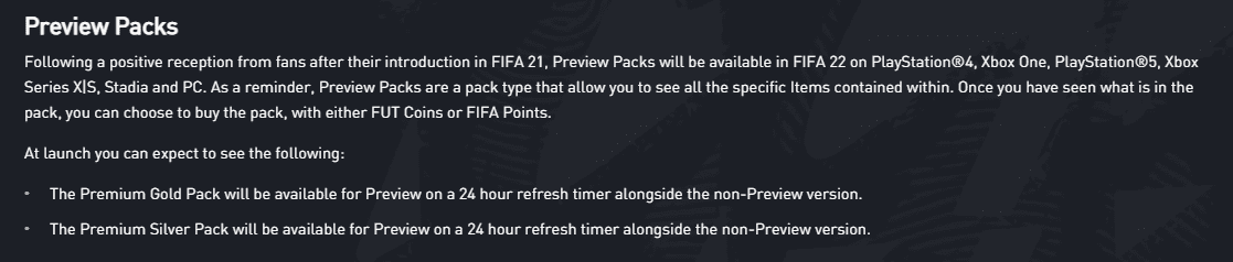 EA Sports confirma que los sobres previsualizables aparecerán en FIFA 22 desde el inicio de temporada Ultimate Team