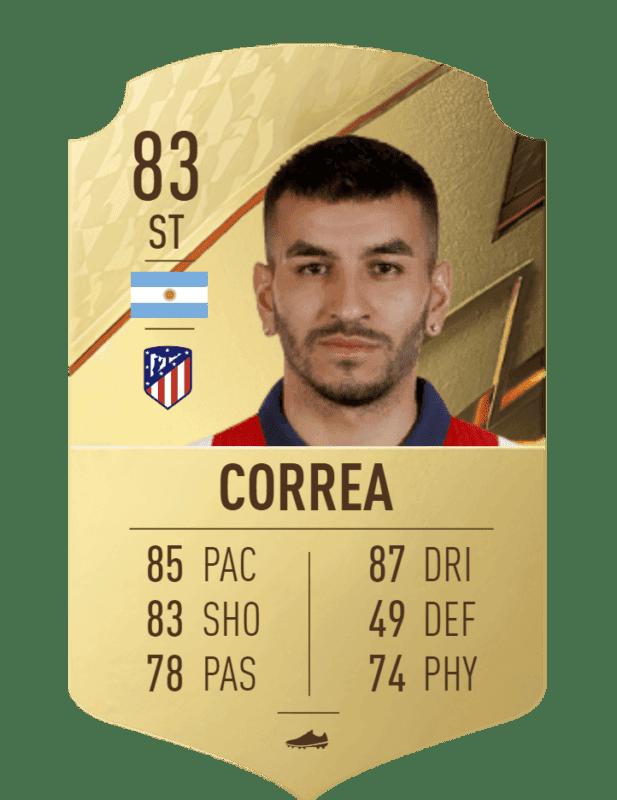 FIFA 22 medias: el Atlético de Madrid cuenta con jugadores interesantes para Ultimate Team Correa