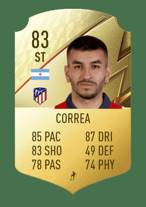 FIFA 22 medias: estas son todas las cartas del Atlético de Madrid en Ultimate Team Correa