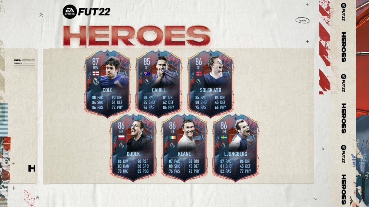 FIFA 22: desveladas las estadísticas de los FUT Heroes de la Premier League Ultimate Team