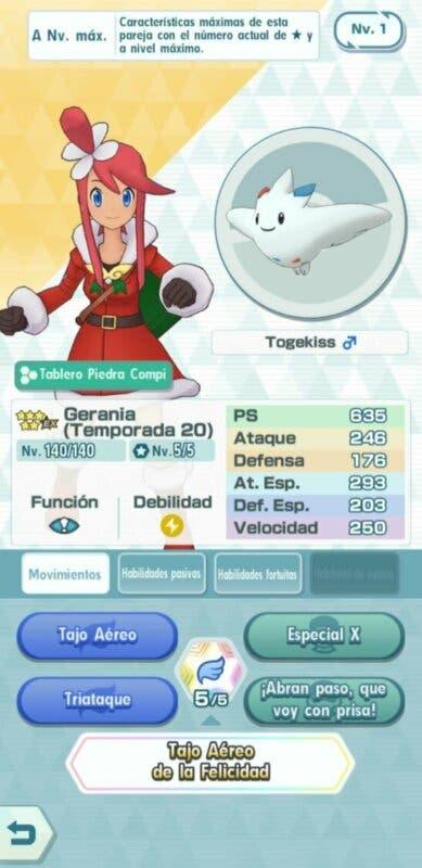 Gerania y Togekiss Pokemon Masters EX