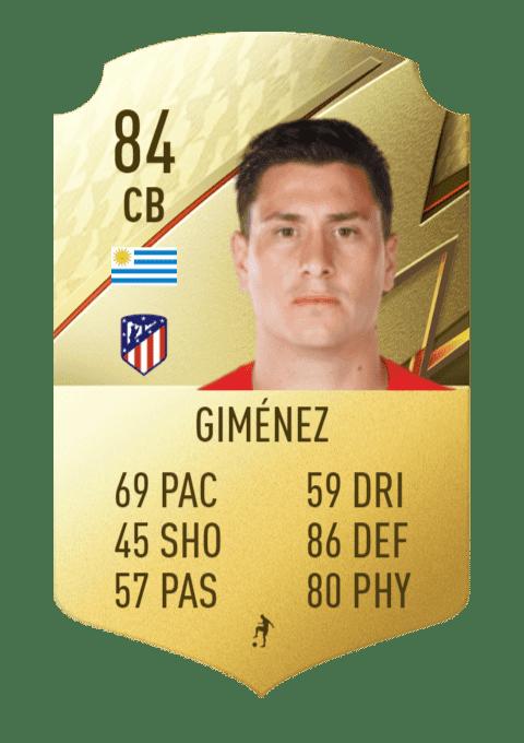 FIFA 22 medias: estas son todas las cartas del Atlético de Madrid en Ultimate Team Giménez