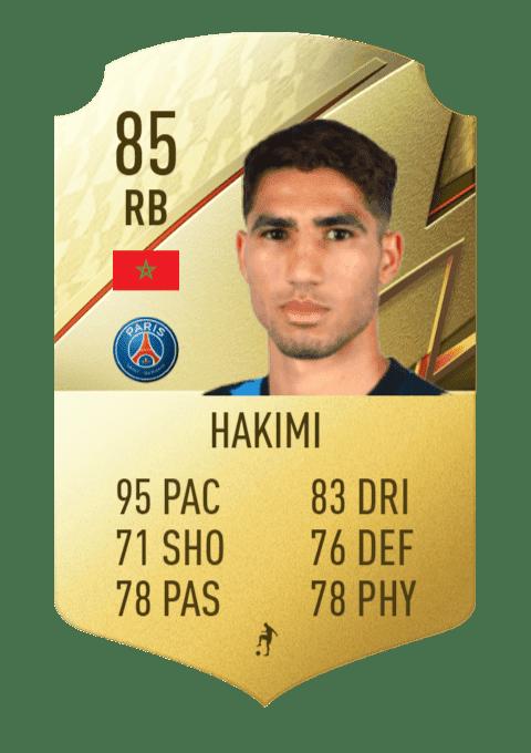 FIFA 22 medias: estas son las cartas oficiales del PSG en Ultimate Team Hakimi