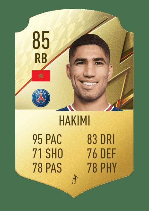FIFA 22 medias: subidas y bajadas confirmadas de estrellas de skills y pierna mala Hakimi