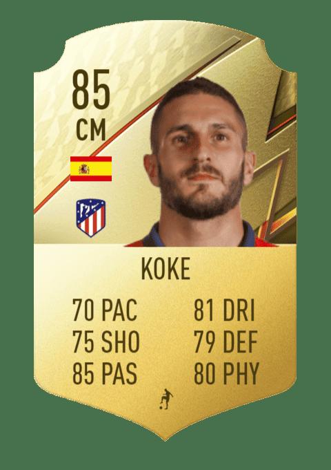 FIFA 22 medias: estas son todas las cartas del Atlético de Madrid en Ultimate Team Koke