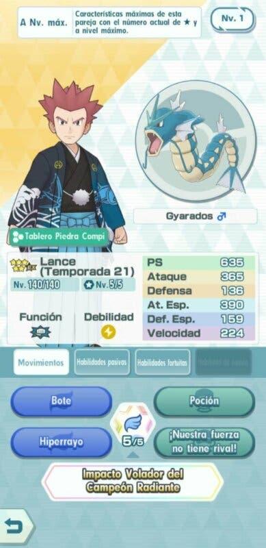 Lance y Gyarados Pokemon Masters EX