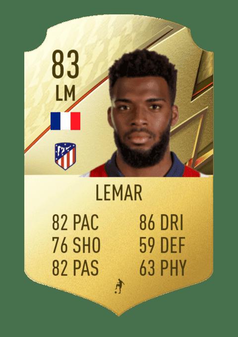 FIFA 22 medias: estas son todas las cartas del Atlético de Madrid en Ultimate Team Lemar