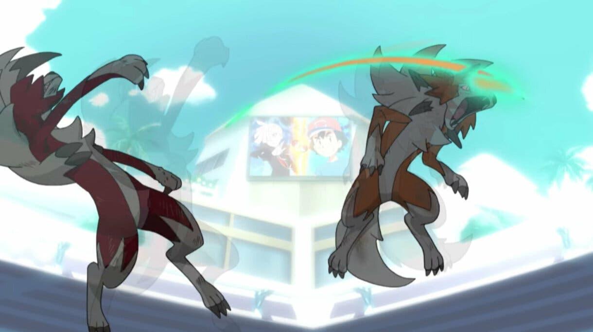 Liga de Alola Lycanroc Contraataque anime de Pokemon