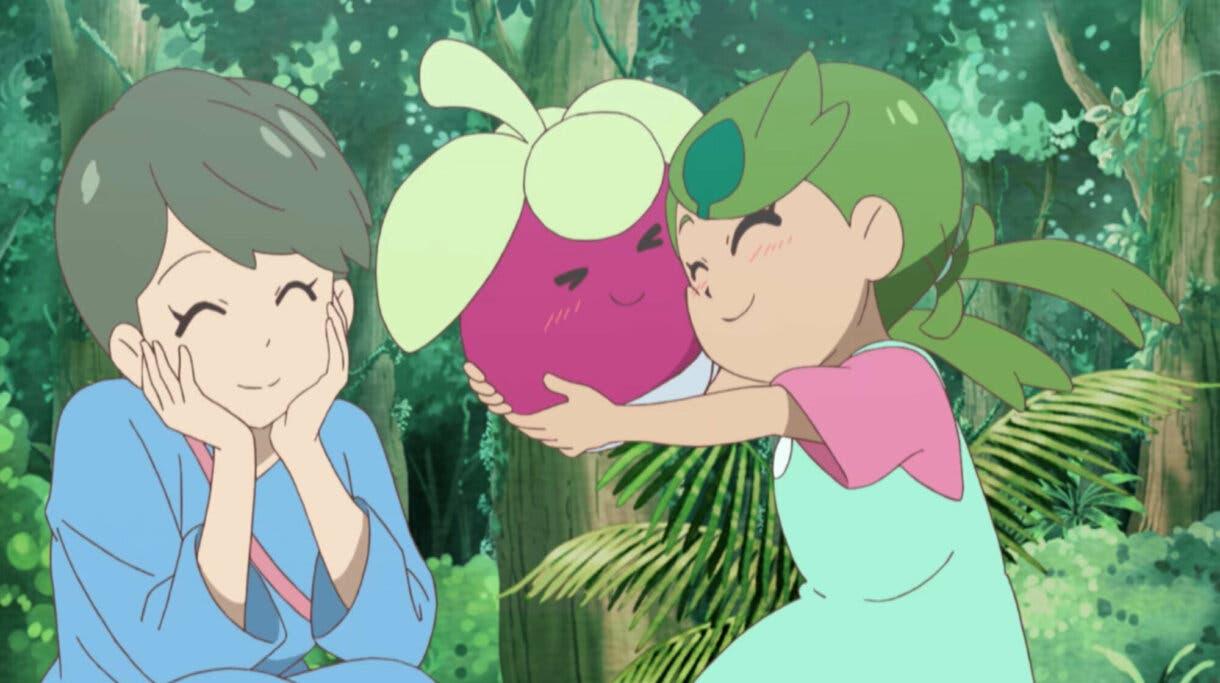 Lulu su madre y Bounsweet anime de Pokemon Sol y Luna