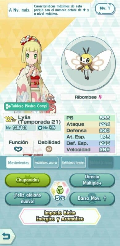 Lylia y Ribombee Pokemon Masters EX