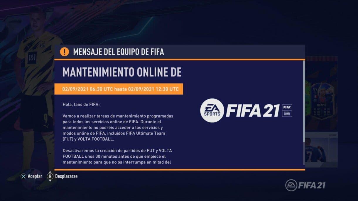 FIFA 21: no podemos jugar partidos de Ultimate Team y VOLTA por mantenimiento hasta esta hora