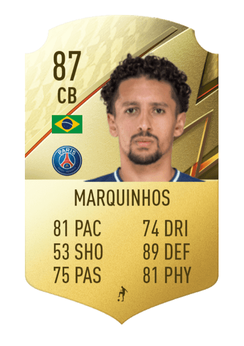 FIFA 22 medias: estas son las cartas oficiales del PSG en Ultimate Team Marquinhos