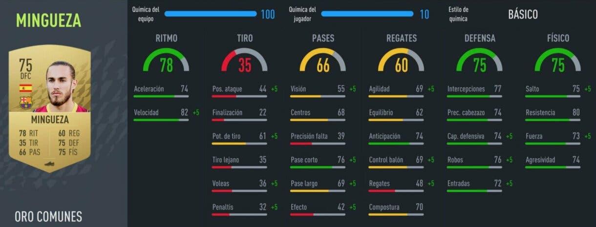 FIFA 22: los mejores centrales baratos de la Liga Santander para empezar Ultimate Team stats in game Mingueza