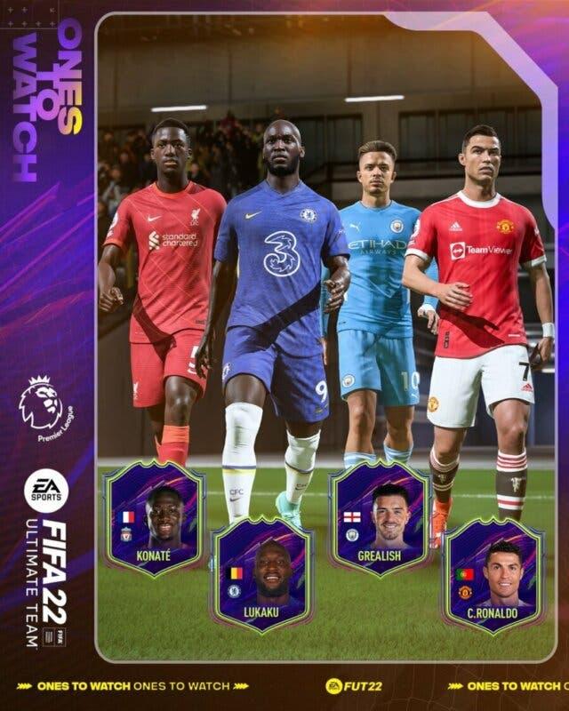 FIFA 22: confirmados cuatro nuevos Ones to Watch (OTW) para Ultimate Team Cristiano Ronaldo, Jack Grealish, Romelu Lukaku e Ibrahima Konaté