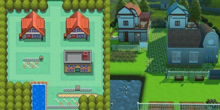 pallet town original and sims remake
