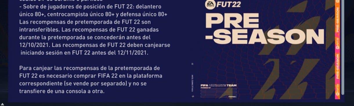 FIFA 21: aparecen más recompensas para FIFA 22 con la segunda semana de Pre-Season Ultimate Team 2