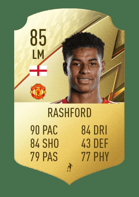 FIFA 22 medias: subidas y bajadas confirmadas de estrellas de skills y pierna mala Marcus Rashford