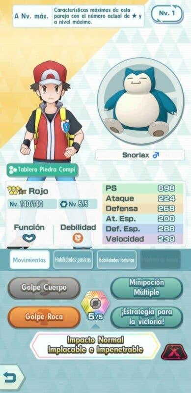 Rojo y Snorlax Pokemon Masters EX