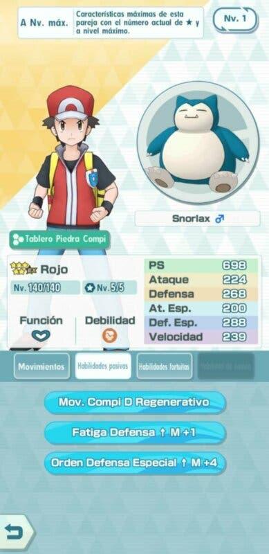 Rojo y Snorlax Pokemon Masters EX habilidades