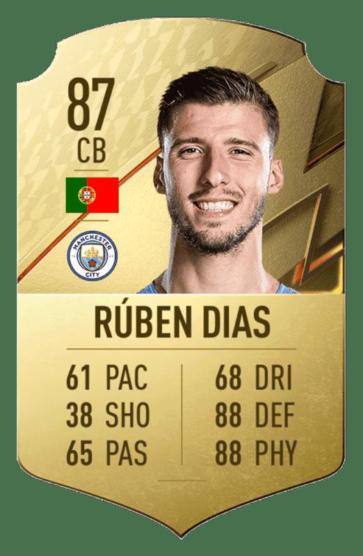 FIFA 22: revelado el top 20 de jugadores de la Premier League con mayor media Rúben Dias