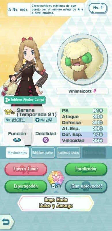 Serena y Whimsicott Pokemon Masters EX
